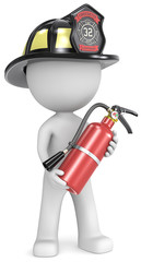 Dude the Firefighter with fire extinguisher.US black helmet.