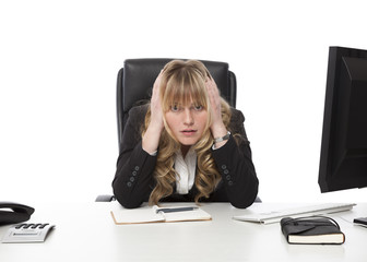 Depressed businesswoman at her wits end