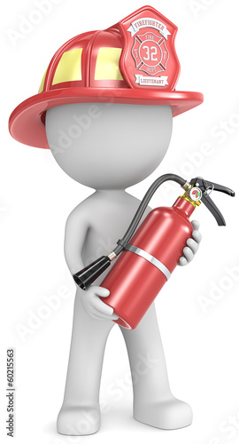 Dude the Firefighter holding fire extinguisher.Red helmet.