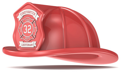 Firefighter Helmet. Classic Red with badge. Isolated.