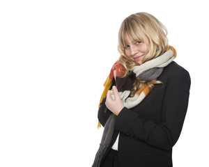 Stylish woman in a winter scarf