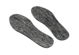 Felt insoles for shoes isolated on white background