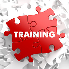 Training on Red Puzzle. Educational Concept.