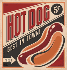 Retro hot dog vector poster design