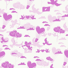 Romantic seamless pattern on white background