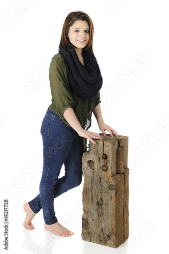 Beautiful Teen by an Old Beam