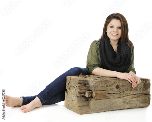 Teen Resting by a Beam
