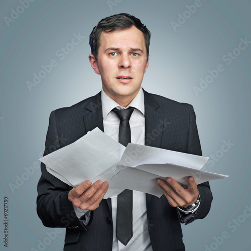 young manager with papers
