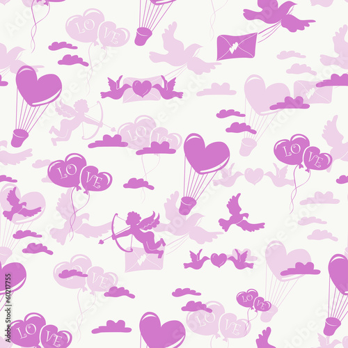 Romantic seamless pattern on white background