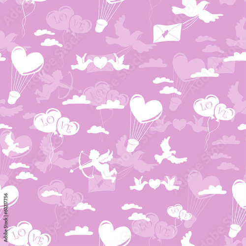 Romantic seamless pattern on pink background