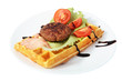 Belgian waffle with beefsteak, tomato slices, lettuce leaf and s