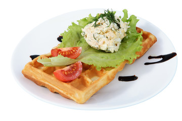 Plate with fast food, Belgian waffle, side dish, tomato, lettuce