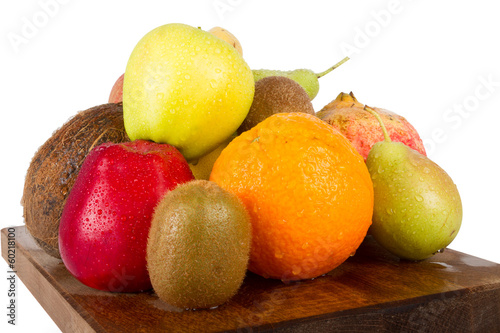 Fresh juicy fruit variety on white background