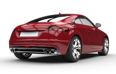 Luxury Dark Red Car - Back View