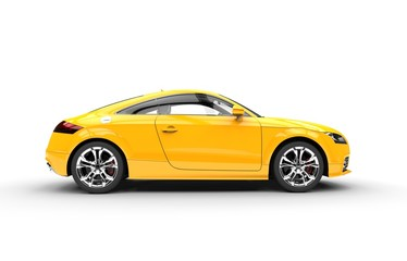 Bright Yellow Elegant Car - Side View