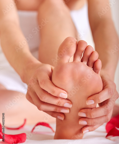 healthy foot massage, soft focus