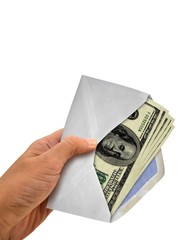 Hand Holding Envelope with Full of Cash