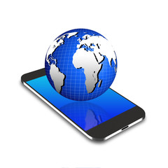Globe  on smartphone,cell phone illustration