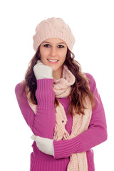 Beautiful girl with wool hat and scarf