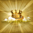Gold crown, old style vector background
