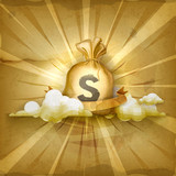 Moneybag, old style vector background