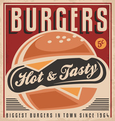 Promotional retro poster design with burger