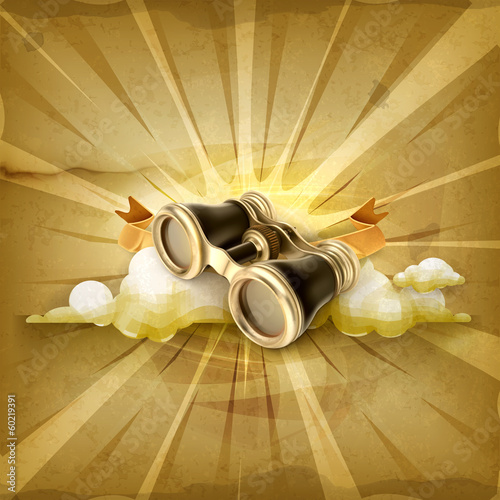 Vintage binoculars, old style vector background