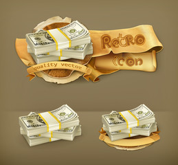 Stack of money, vector icon