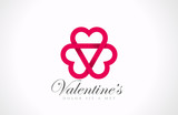 Logo Three Looped Hearts - Love triangle. Infinite loving