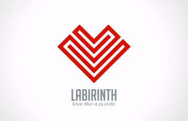 Logo Labyrinth of Love - Heart of lines vector icon