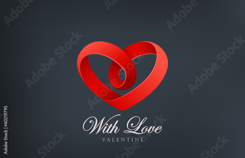 Logo Heart looped ribbon abstract icon design