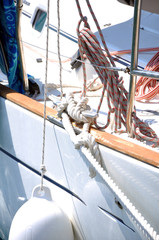 mooring equipment on deck of yacht