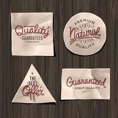 Premium quality craft paper labels, vector Eps10 image.