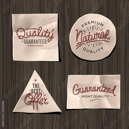 Premium quality craft paper labels, vector Eps10 image.