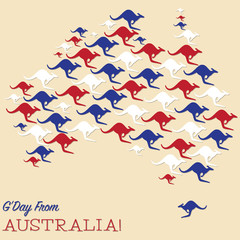 Australian map made from Kangaroos in vector format.