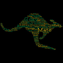 Kangaroo made from Australian slang words in vector format.