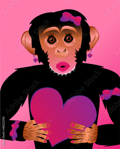 Ape Chimp Pink CloseUp