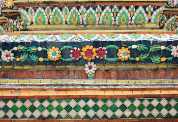 Historic wall decoration at a Thailand temple