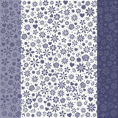 Blue Denim Flower Icons Background