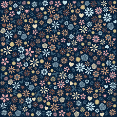 Flower Icons Background in Blue and Orange