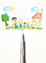 Felt pen close-up with a drawing of a family