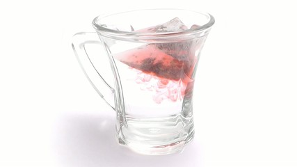 Tea infusion on white background