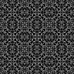 White lace ornament on black, seamless pattern