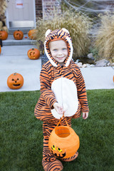 Little Boy in Costume Trick-or-treating on Halloween