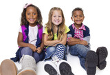 Diverse group of school kids isolated on white background
