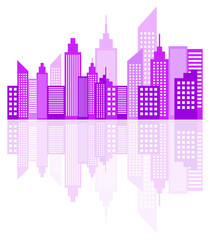 Purple Modern City Skyscrapers Skyline