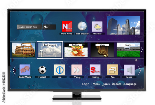 3D smart tv with icons, isolated on white background