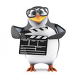 Academic penguin works on a movie set
