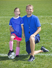 Soccer Coach and Soccer Player portrait