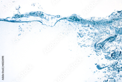 Water background. Splash with bubbles - 60226198